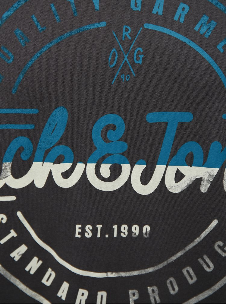 Tmavě šedé tričko s potiskem Jack & Jones