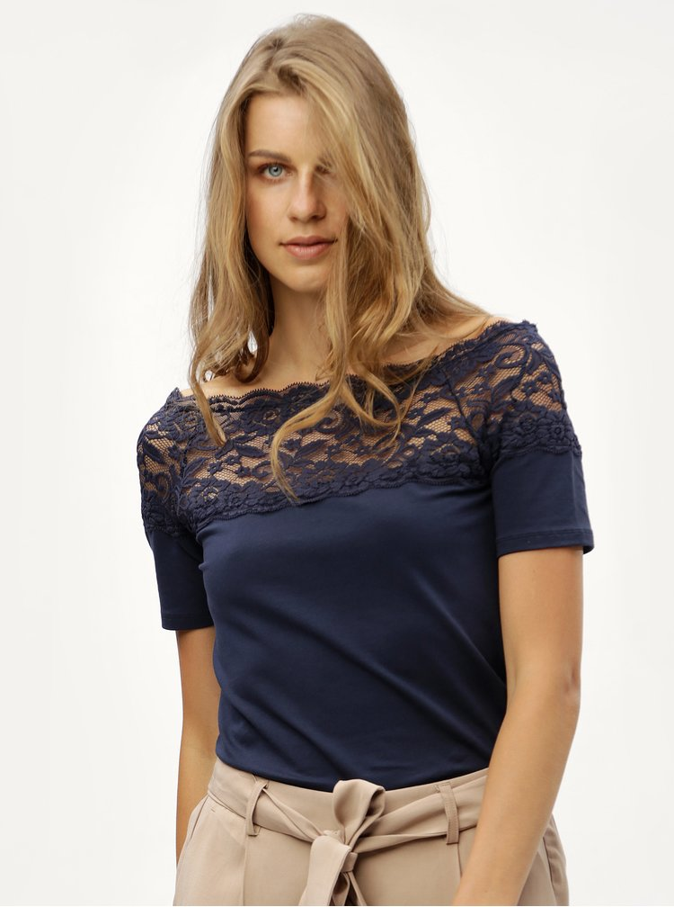 Tricou albastru inchis cu dantela Jacqueline de Yong Domino