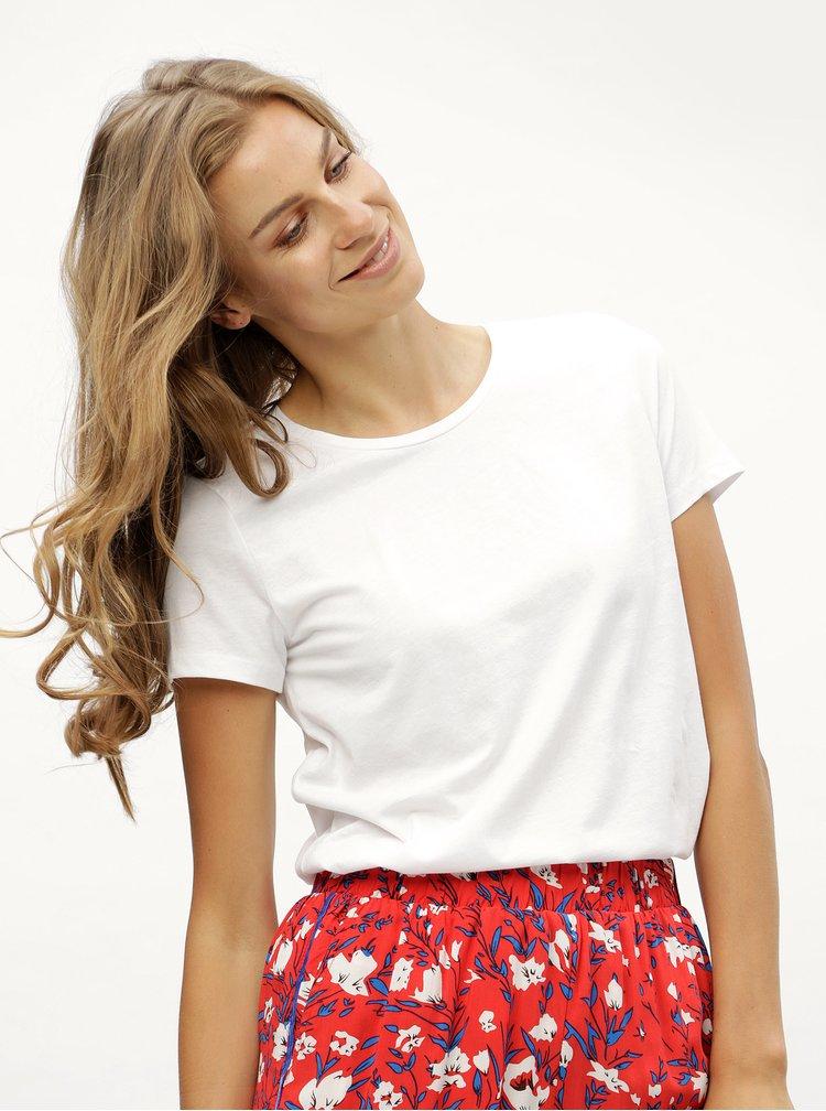 Bílé tričko s kulatým výstřihem Noisy May