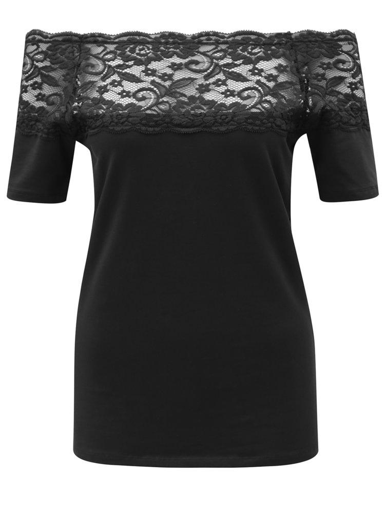 Čierne tričko s čipkovým sedlom Jacqueline de Yong Domino