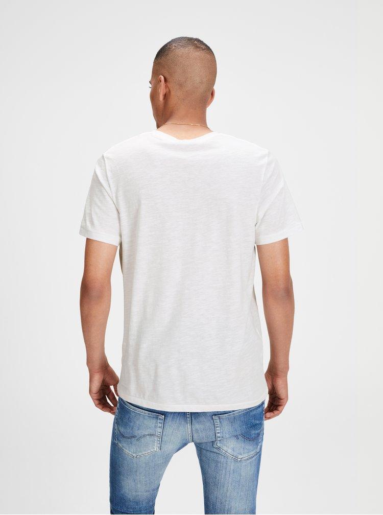 Tricou alb melanj cu print Jack & Jones
