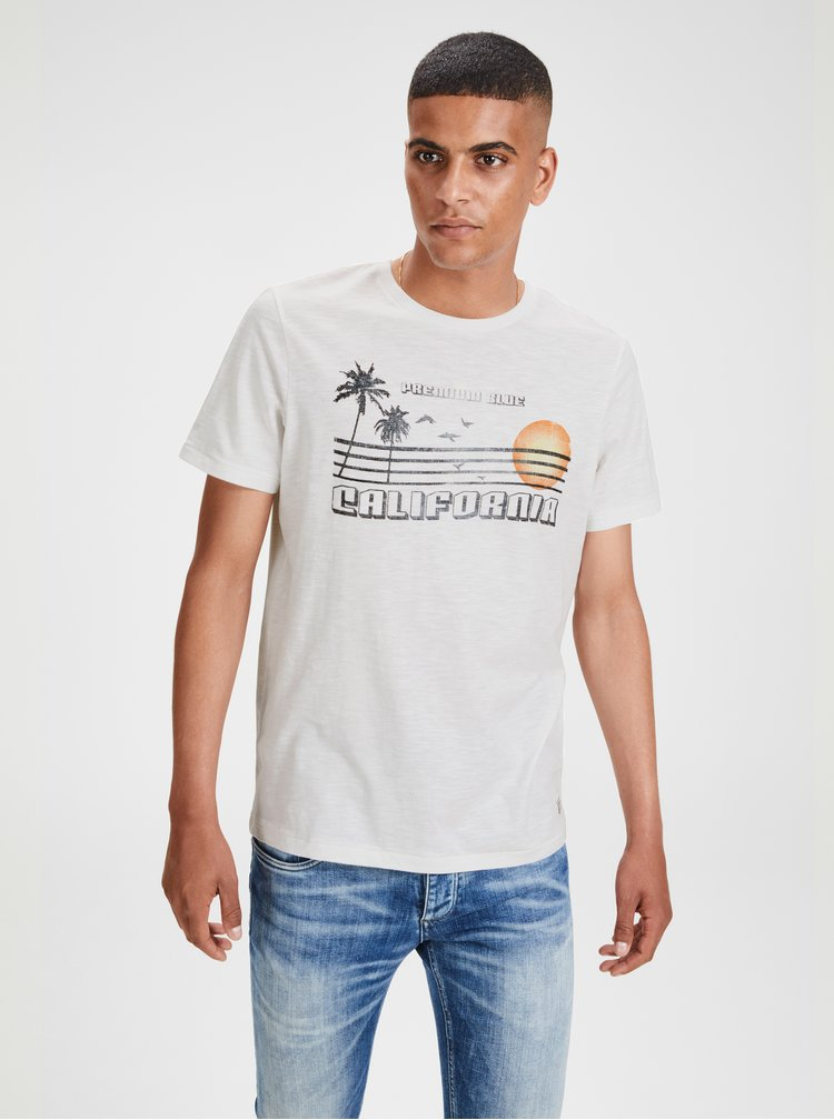 Bílé žíhané tričko s potiskem Jack & Jones