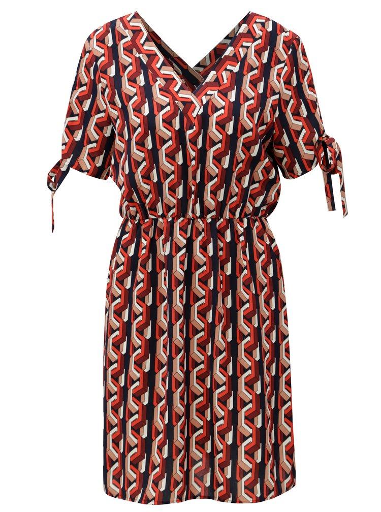 Červené vzorované šaty s mašlemi na rukávech Noisy May