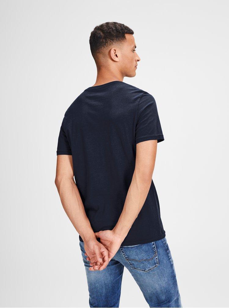 Tricou albastru cu print Jack & Jones