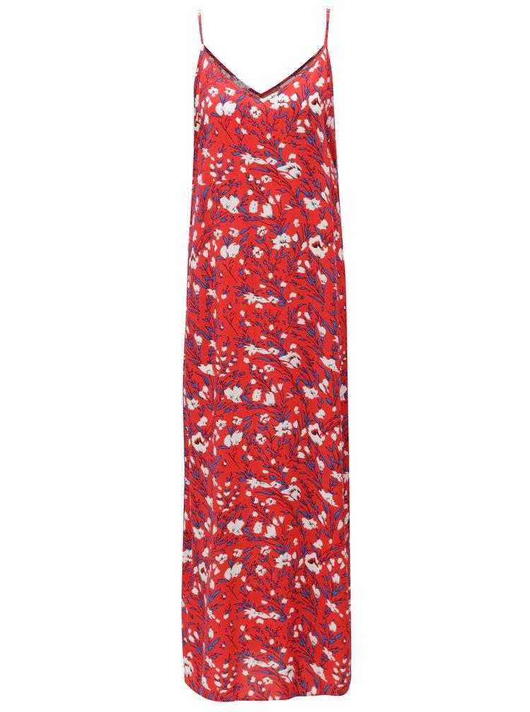 Červené květované maxišaty na ramínka Noisy May