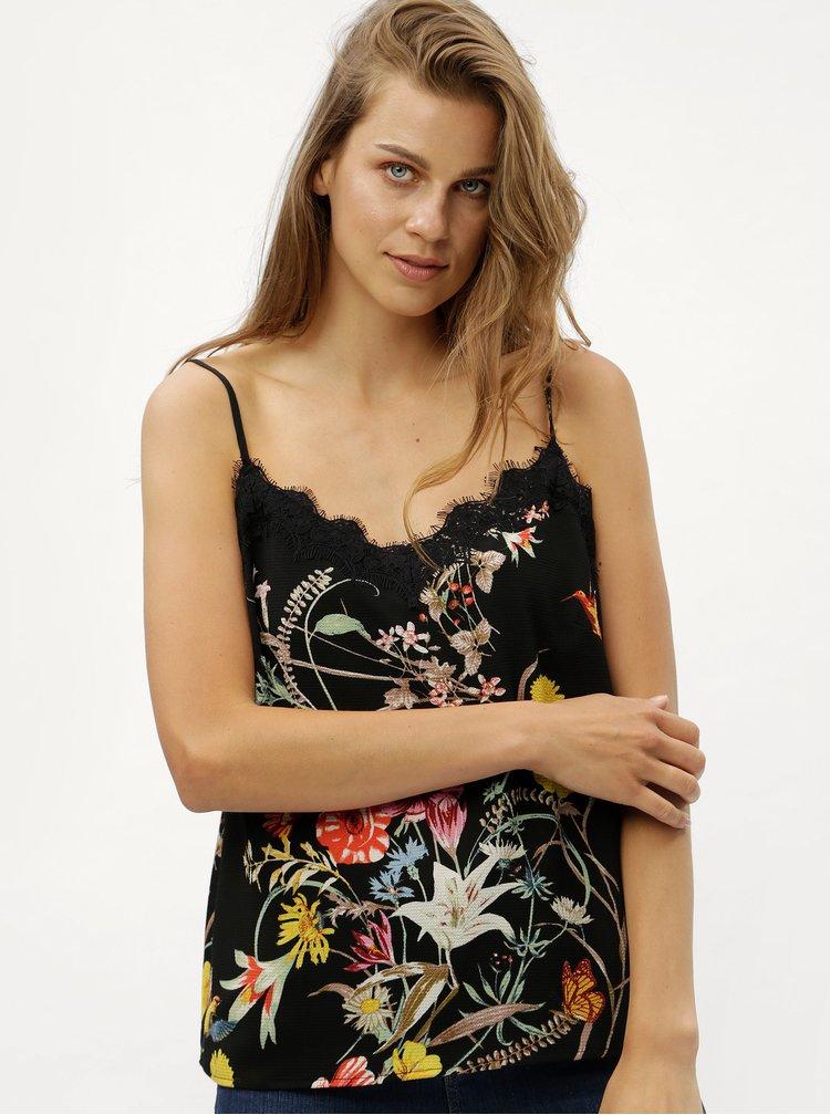 Černé květované tílko s krajkou ONLY Juliet