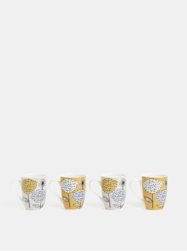 Sada čtyř hrnků v šedé a žluté barvě s květinovým motivem Cooksmart