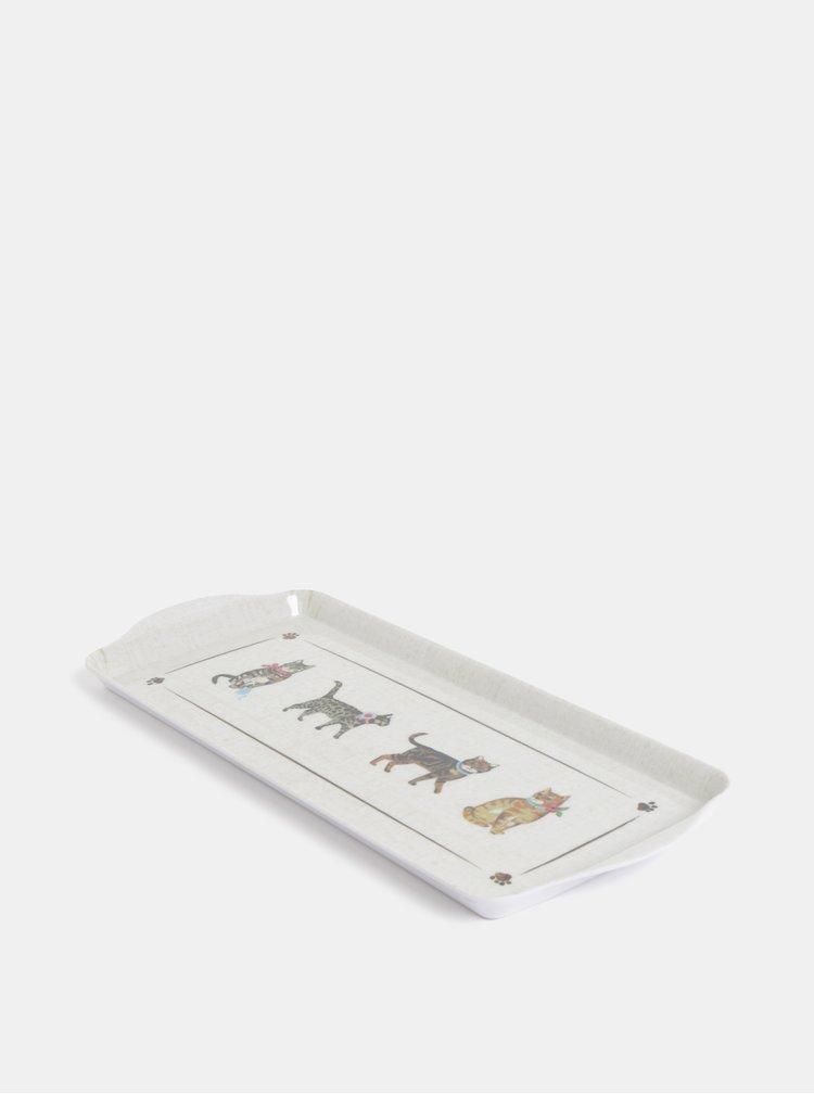 Krémový malý  tác s motivem koček Cooksmart