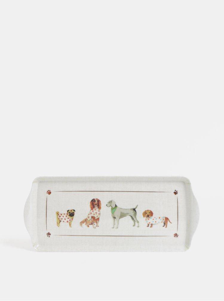 Krémový malý tác s motivem psů Cooksmart