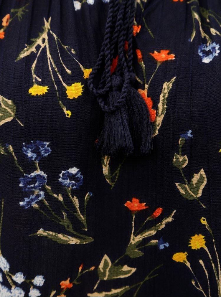 Tmavě modrá květovaná halenka s odhalenými rameny Dorothy Perkins