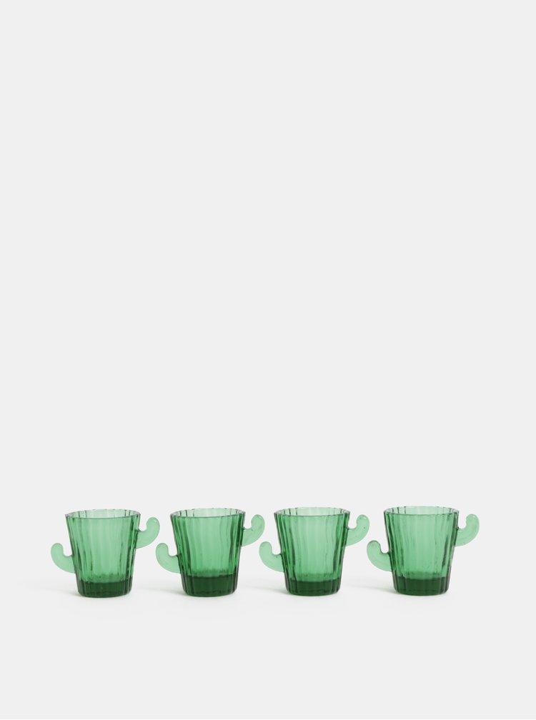 Sada čtyř skleněných panáků ve tvaru kaktusu v zelené barvě Temerity Jones