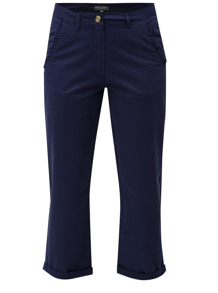 Modré zkrácené chino kalhoty Dorothy Perkins Tall