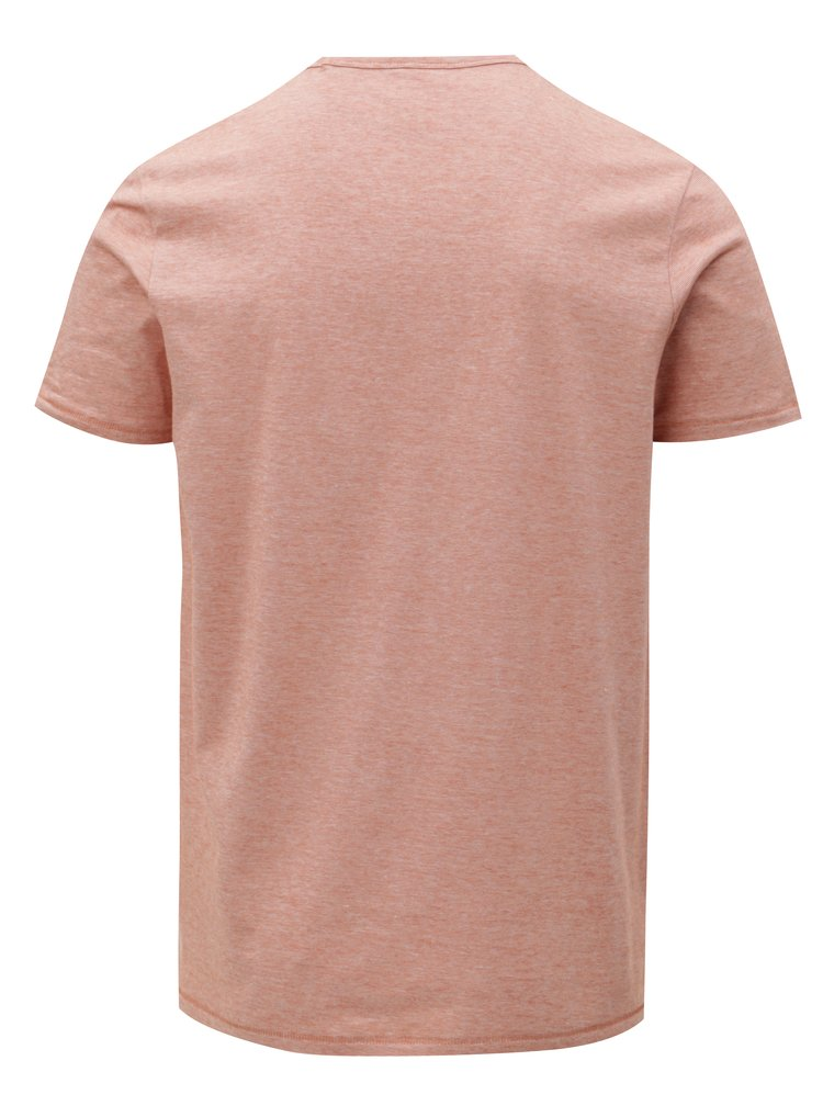Cihlové pánské pruhované basic tričko Stanley & Stella
