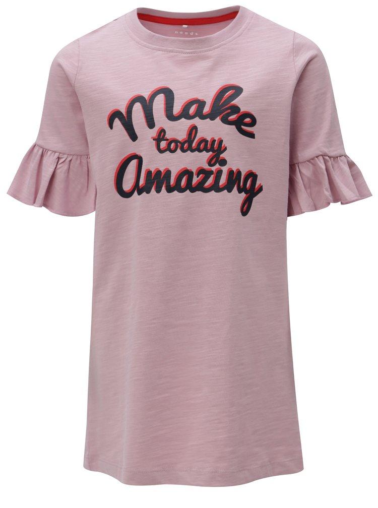 Růžové holčičí šaty s volány na rukávech name it Ville