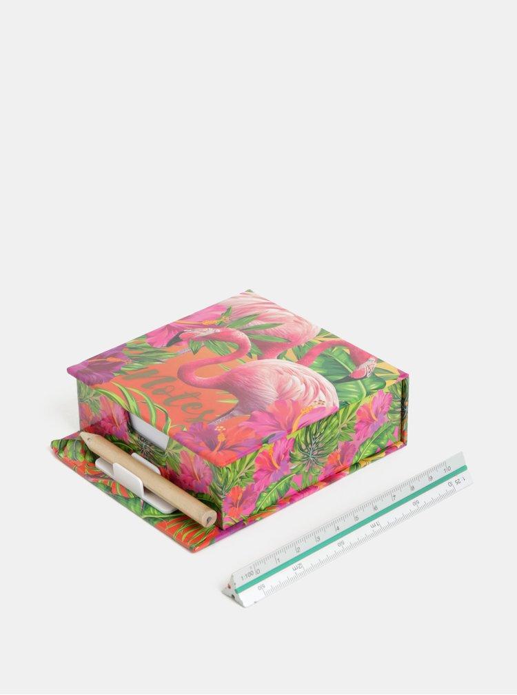 Zeleno-růžová krabička s papírky a tužkou s potiskem plameňáků SIFCON