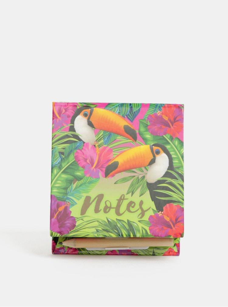 Růžovo-zelená krabička s papírky a tužkou s potiskem tukanů SIFCON
