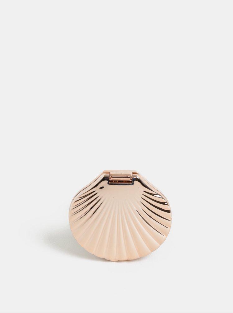 Kompaktní zrcátko ve tvaru mušle v růžovozlaté barvě Temerity Jones