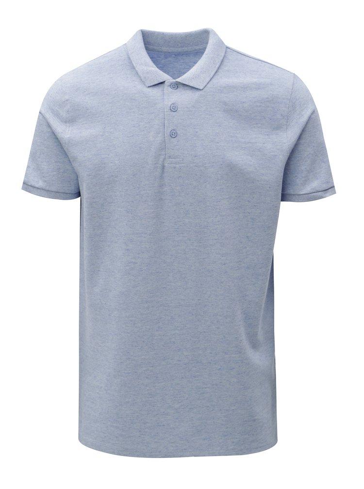 Světle modré pánské žíhané polo tričko Stanley & Stella