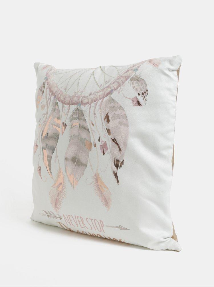 Bílo-růžový metalický polštář s motivem lapače snů SIFCON
