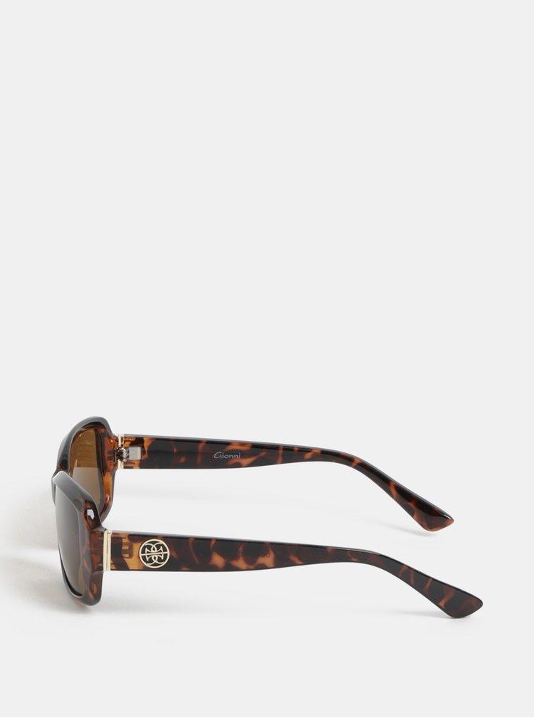 Hnědé vzorované sluneční brýle s pouzdrem Gionni