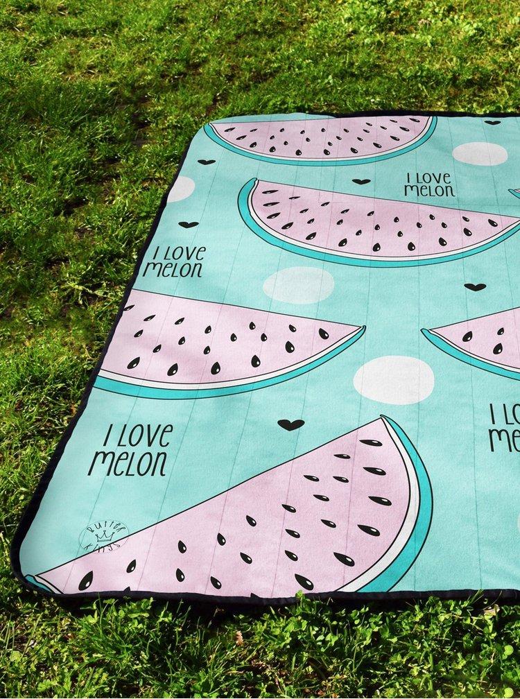 Světle modrá deka na piknik s motivem melounů Butter Kings