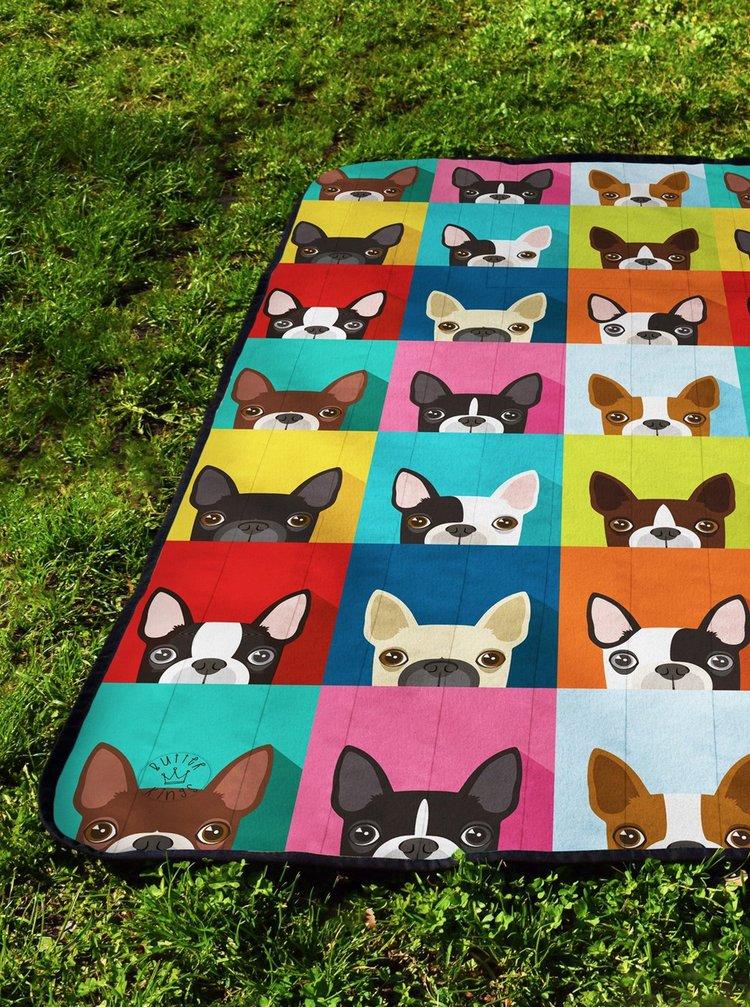 Barevná deka na piknik s motivem psů Butter Kings