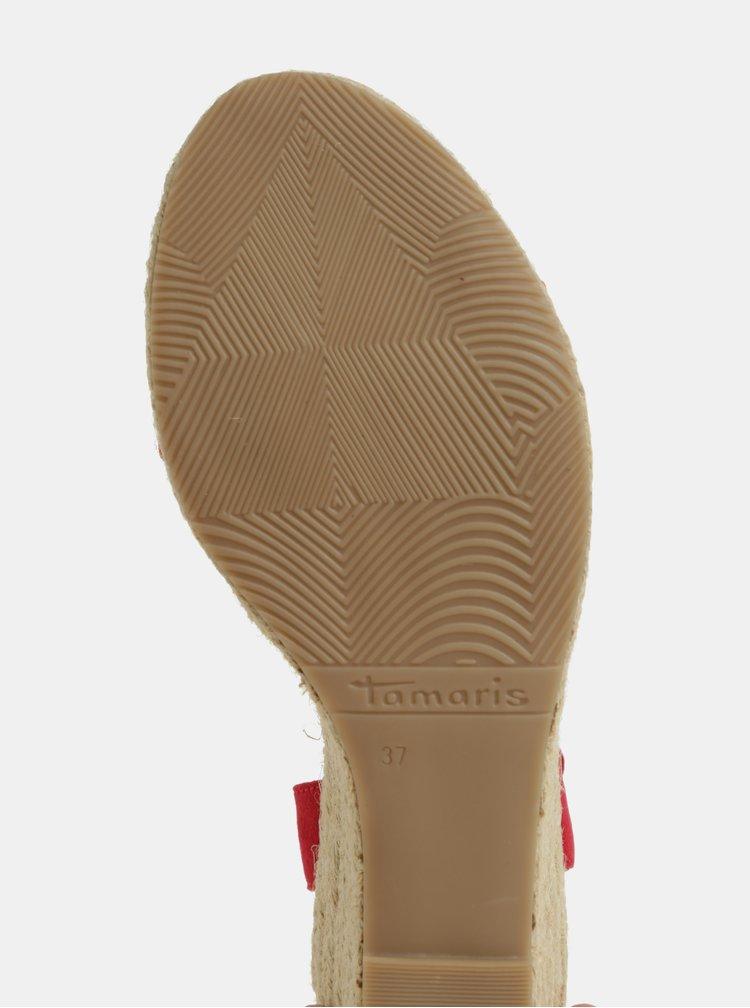 Sandale negre cu aspect de piele intoarsa Tamaris