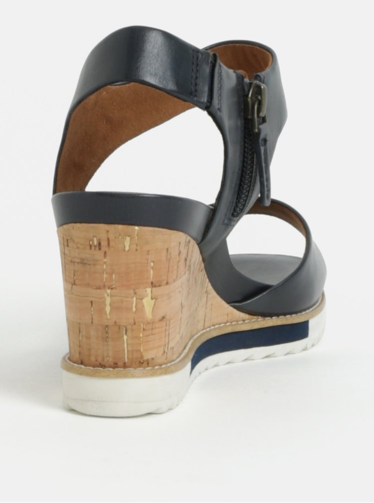 Sandale albastru inchis din piele naturala cu platforma wedge Tamaris