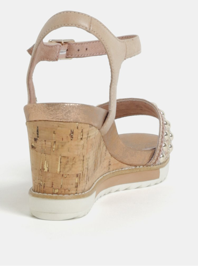Starorůžové kožené sandálky s detaily ve stříbrné barvě Tamaris