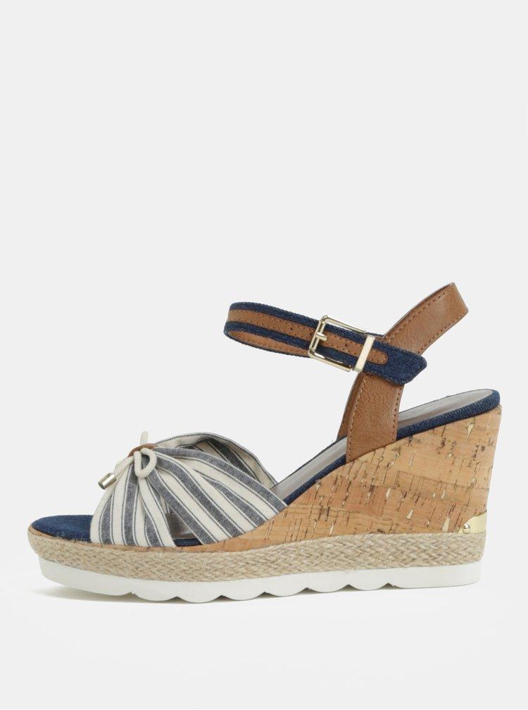 Krémovo-modré pruhované sandálky Tamaris