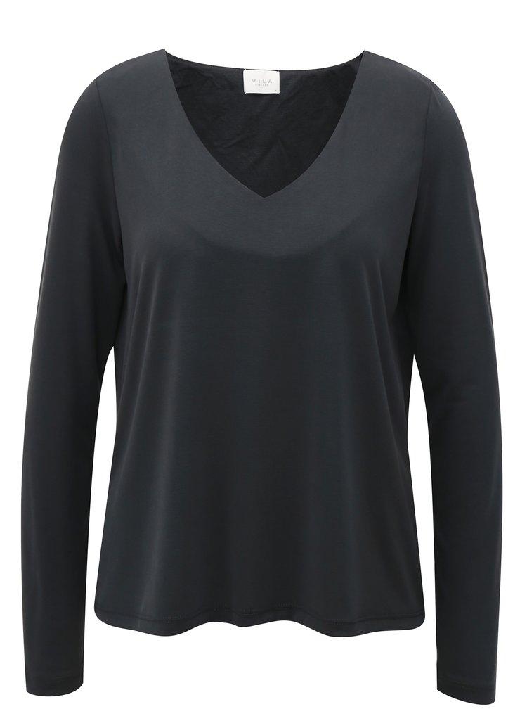 Tmavě šedé basic tričko s dlouhým rukávem VILA Triny