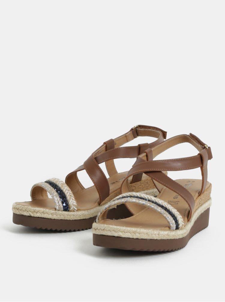 Hnědé kožené sandály na klínku s ozdobným páskem Tamaris