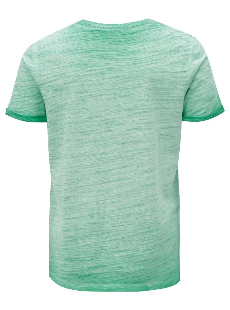 Zelené pánské žíhané slim fit tričko s.Oliver