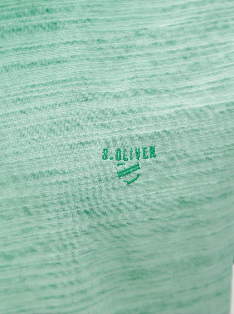 Tricou baratesc slim fit verde melanj s.Oliver