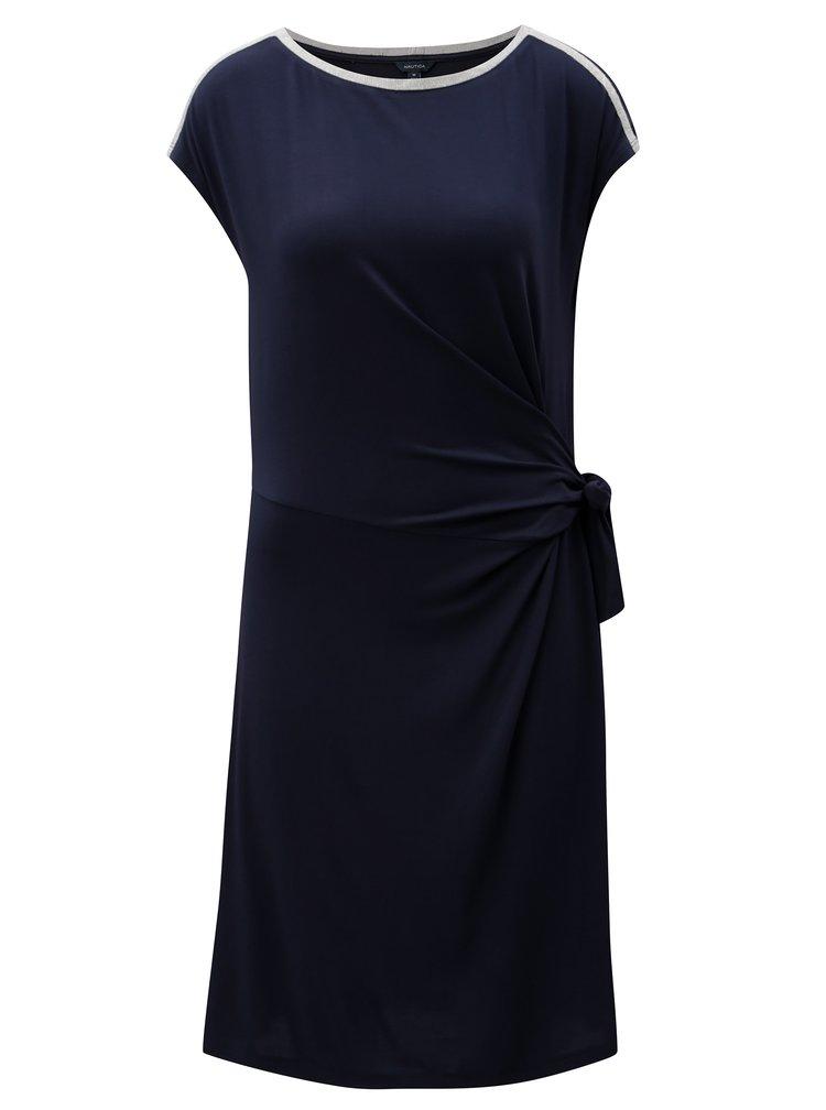 Tmavě modré šaty se zavazováním v pase Nautica