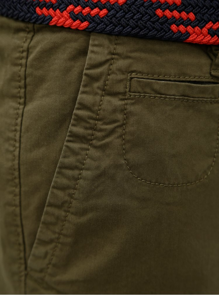Khaki pánské kraťasy s páskem s.Oliver