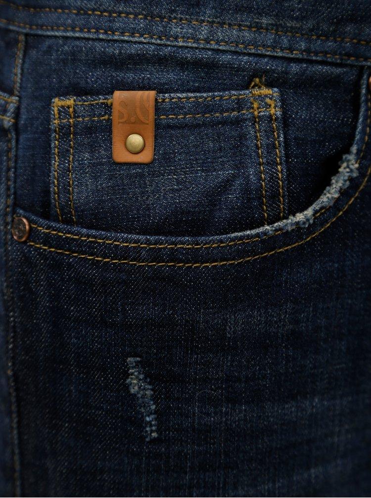 Modré pánské slim fit džínové kraťasy s.Oliver