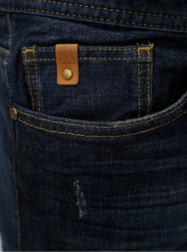 Tmavě modré pánské slim fit džínové kraťasy s.Oliver