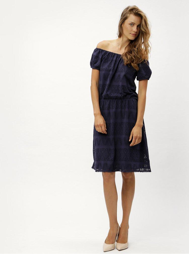 Modré šaty s odhalenými rameny s.Oliver