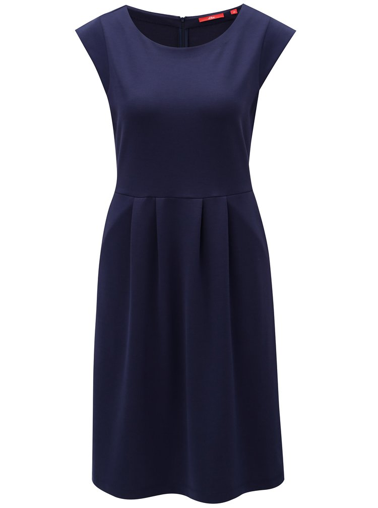 Tmavě modré šaty  s kapsami s.Oliver