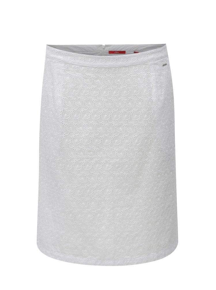 Bílá áčková sukně s krajkou s.Oliver