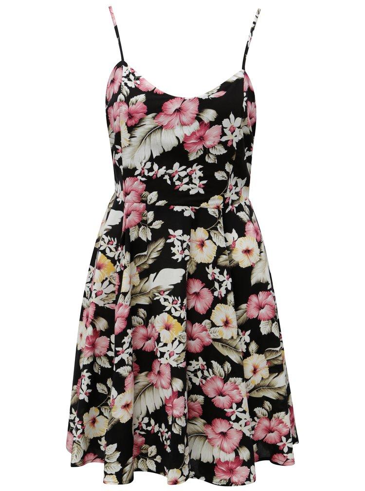 Bílo-černé květované šaty s vázáním na zádech Haily´s Victoria