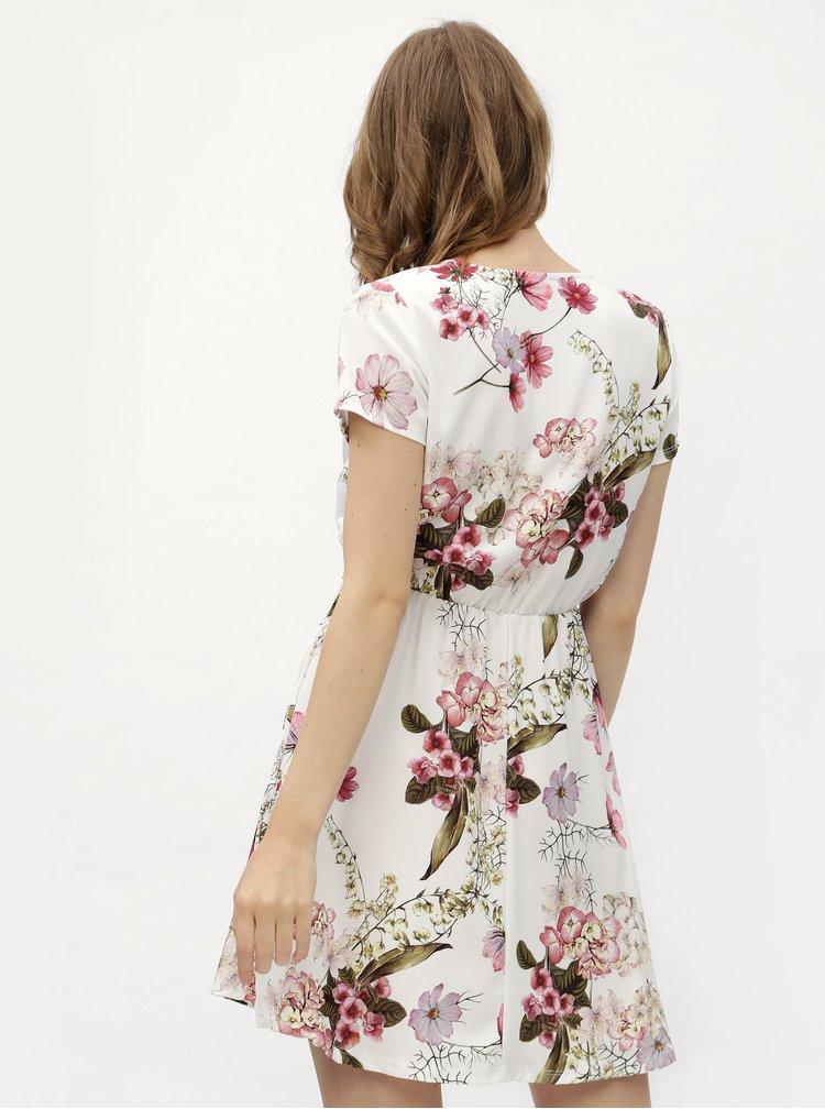 Bílé květované šaty s překládaným výstřihem a gumou v pase Haily´s Sina