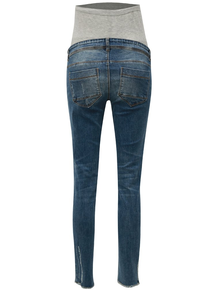 Modré těhotenské slim džíny s potrhaným efektem  Mama.licious Sienna