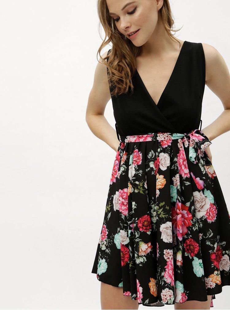 Černé šaty s květovanou kolovou sukní Haily´s Janna