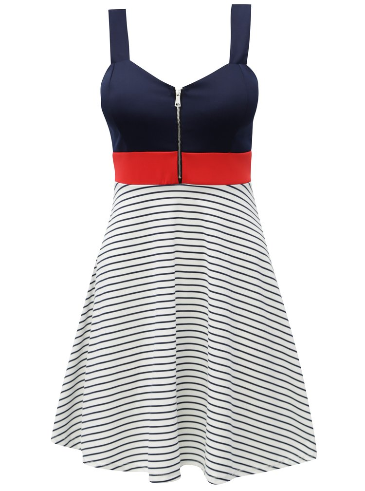 Bílo-modré pruhované šaty na ramínka Haily´s Soraja