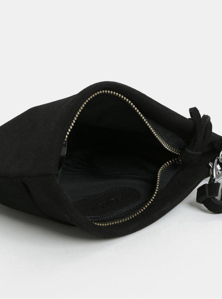 Černé kožené psaníčko s třásní KOZAK Mia