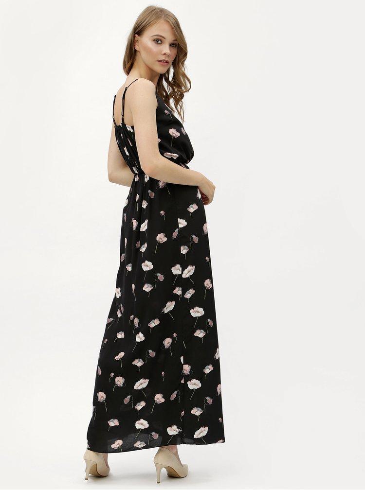Rochie maxi neagra cu model floral si banda elastica in talie Haily's Doris