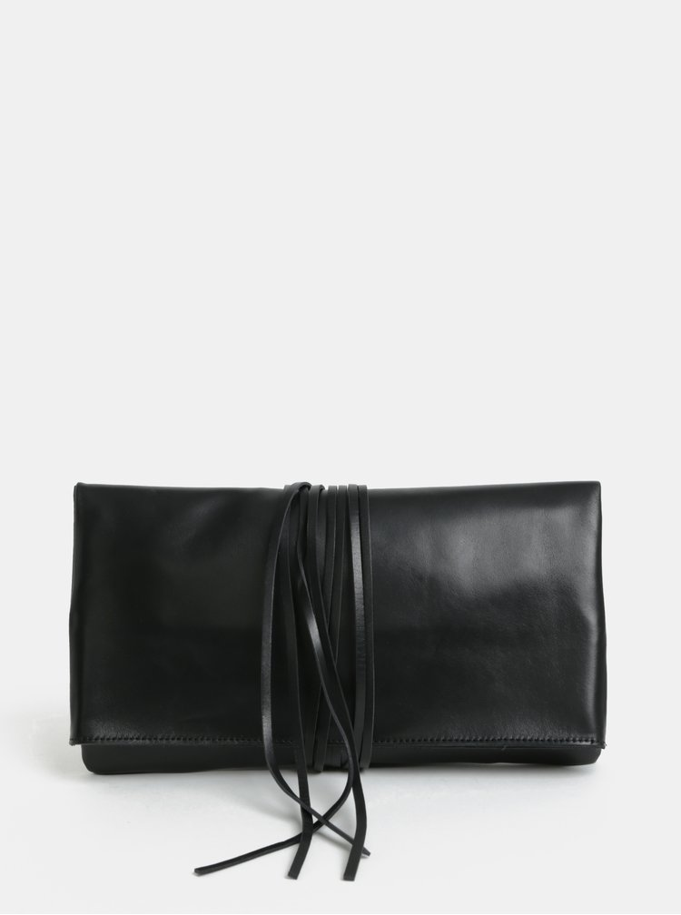 Černé kožené psaníčko s dlouhými třásněmi KOZAK Helena