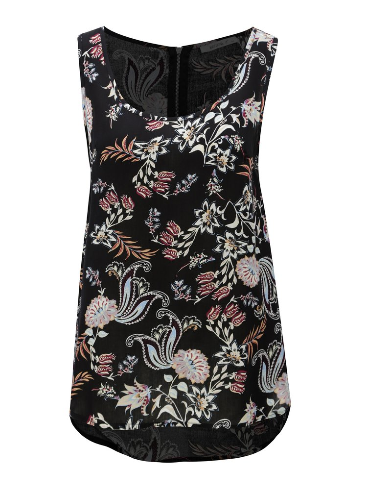 Černý květovaný top se zipem na zádech Haily´s Cami Roxanne